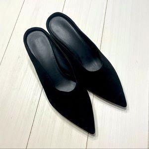 Black Suede VINCE slide heels size 10